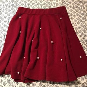 Dresses & Skirts - Red Skirt with Pearl Detail